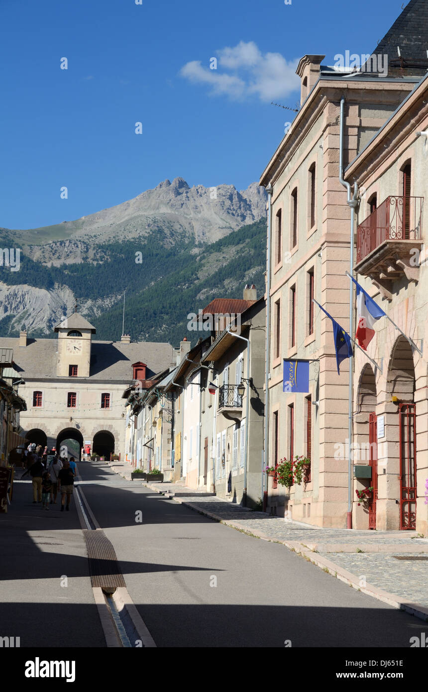 Main Street Rue Catinat or High Street Mont-Dauphin Hautes-Alpes France - Stock Image