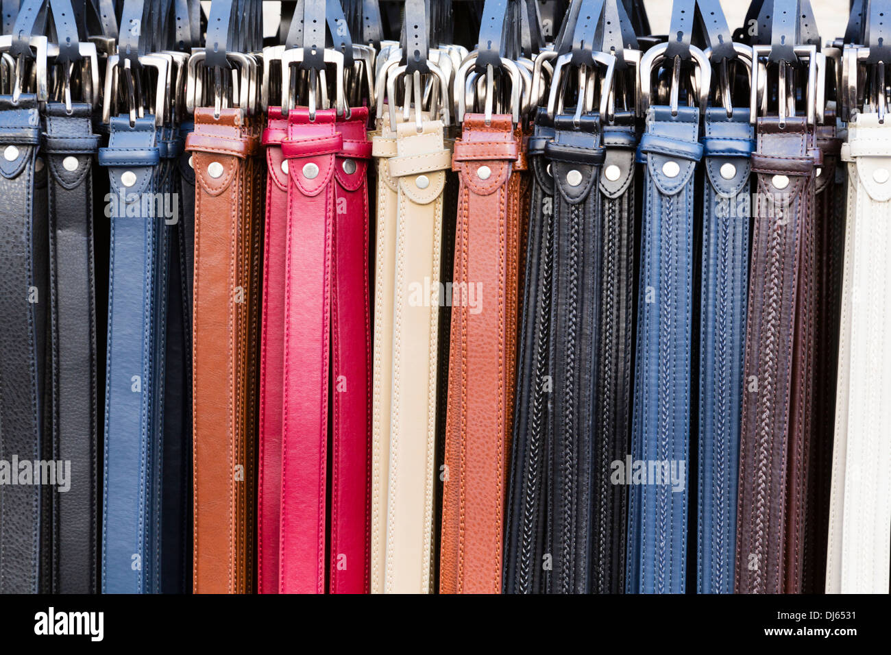 Shop display of leather belts, St Andrews Street, Limassol, Cyprus. - Stock Image