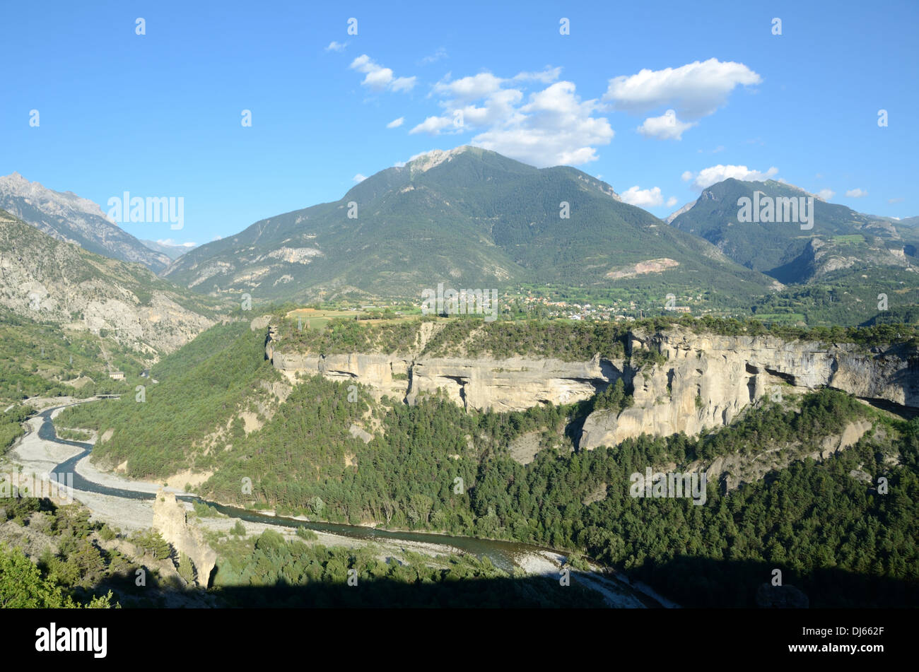 Guil Canyon & Guillestre Plateau from Mont-Dauphin Hautes-Alpes France - Stock Image