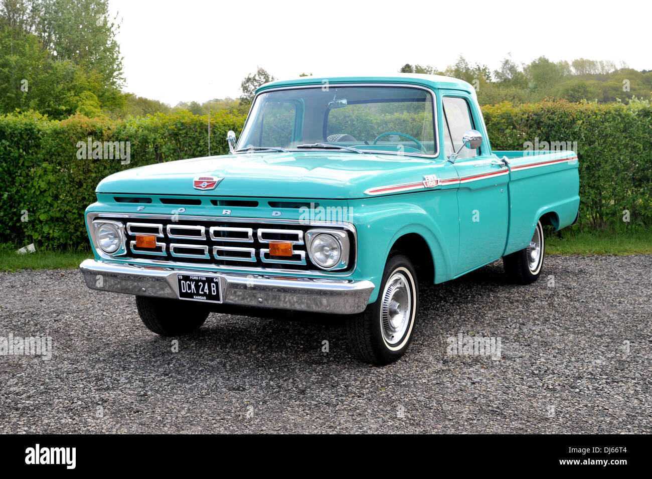 Blue Ford F100 Stock Photos Images Alamy 1964 Short Bed Classic American Pick Up Truck Image