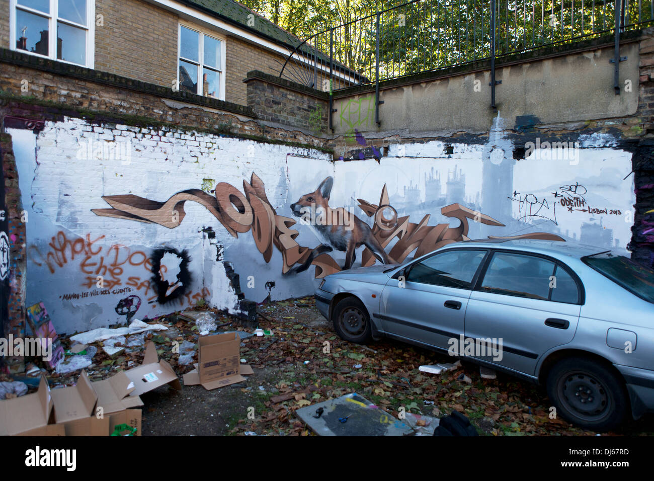 Street Art on a side street near Brick Lane, London, UK. Stock Photo