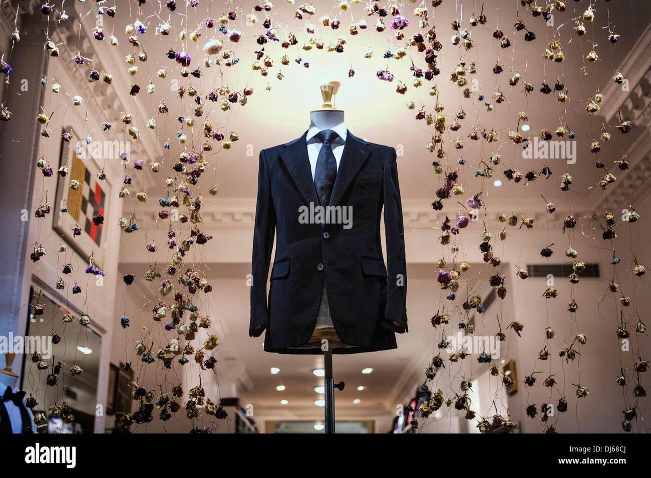 Savile Row British Bespoke tailoring London shop window display. Savile row bespoke. - Stock Image