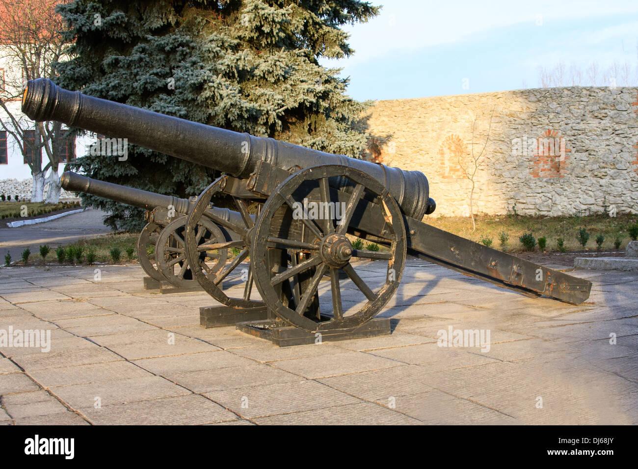 Ancient cannon on wheels. Dubno Castle. Ukraine - Stock Image