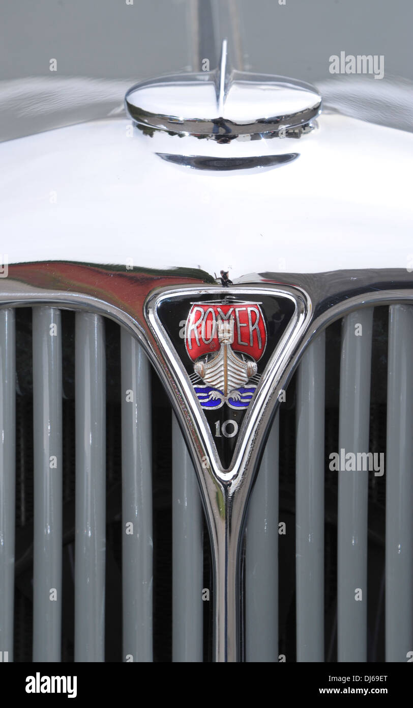 Rover 10 sports tourer 1930s Classic British car badge - Stock Image