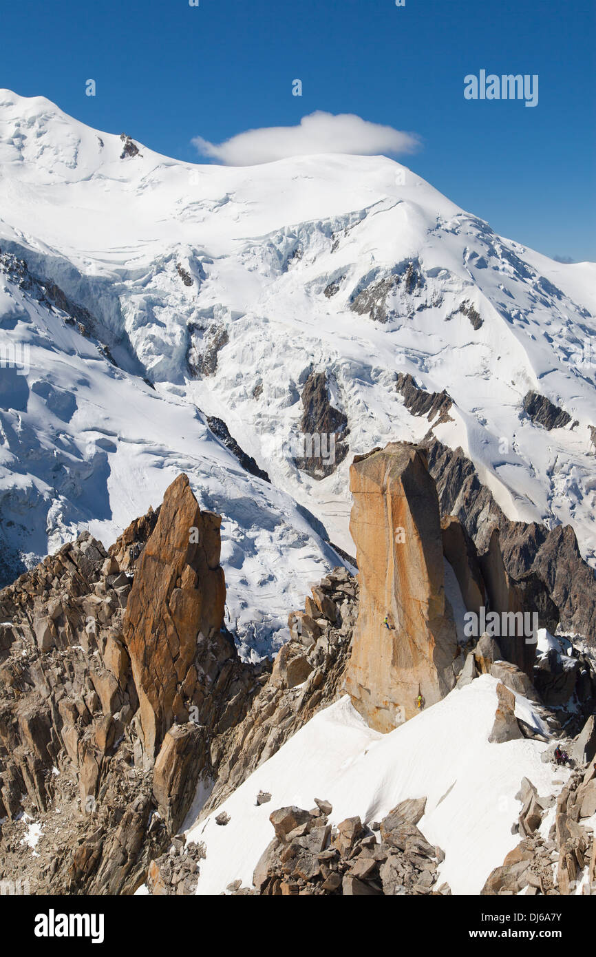 Arete des Cosmiques and Dome du Gouter from the Aiguille du Midi, France. - Stock Image