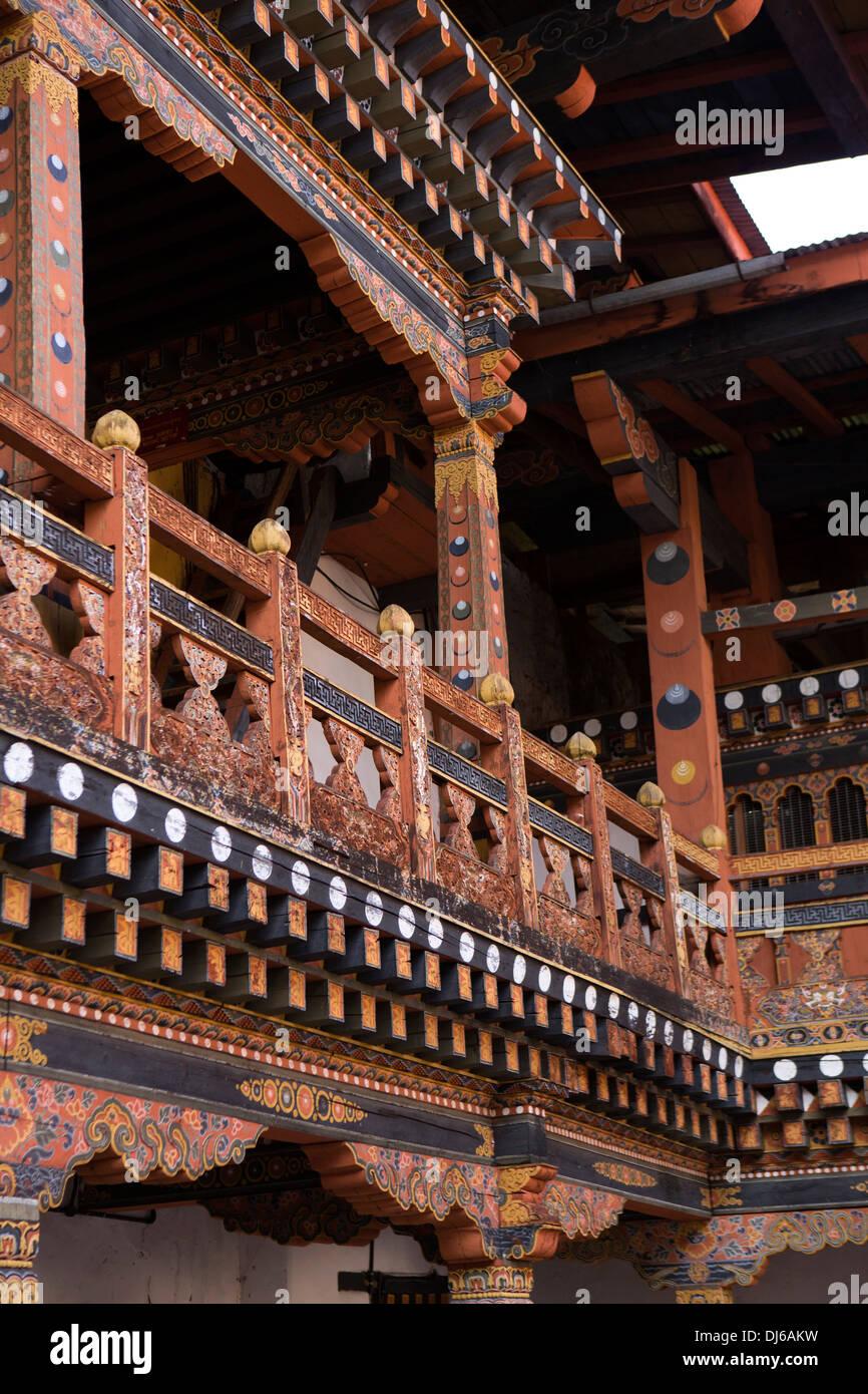 Bhutan, Punakha Dzong, decorated wooden structure of monk's accommodation - Stock Image