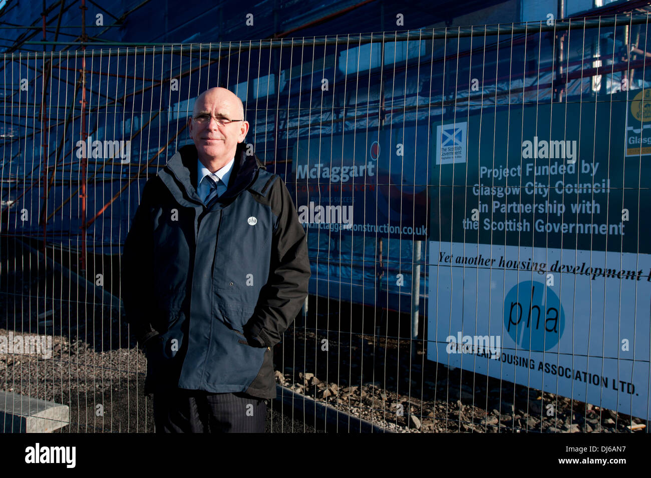 Jim Strang, Chief Executive of Parkhead Housing Association, is photographed in Parkhead Glasgow - Stock Image