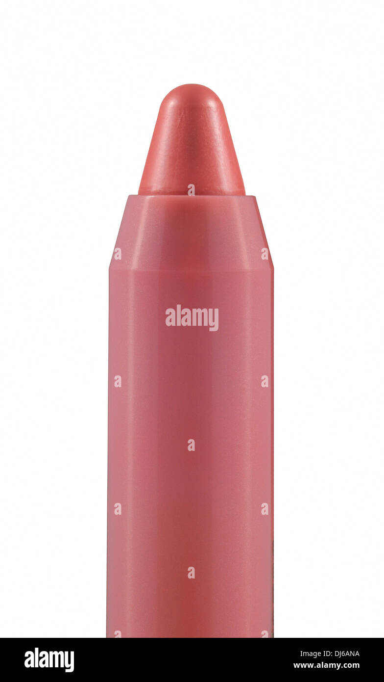 Close-up of pink caramel chubby stick on white background. Moisturizing lip color balm in a crayon. - Stock Image