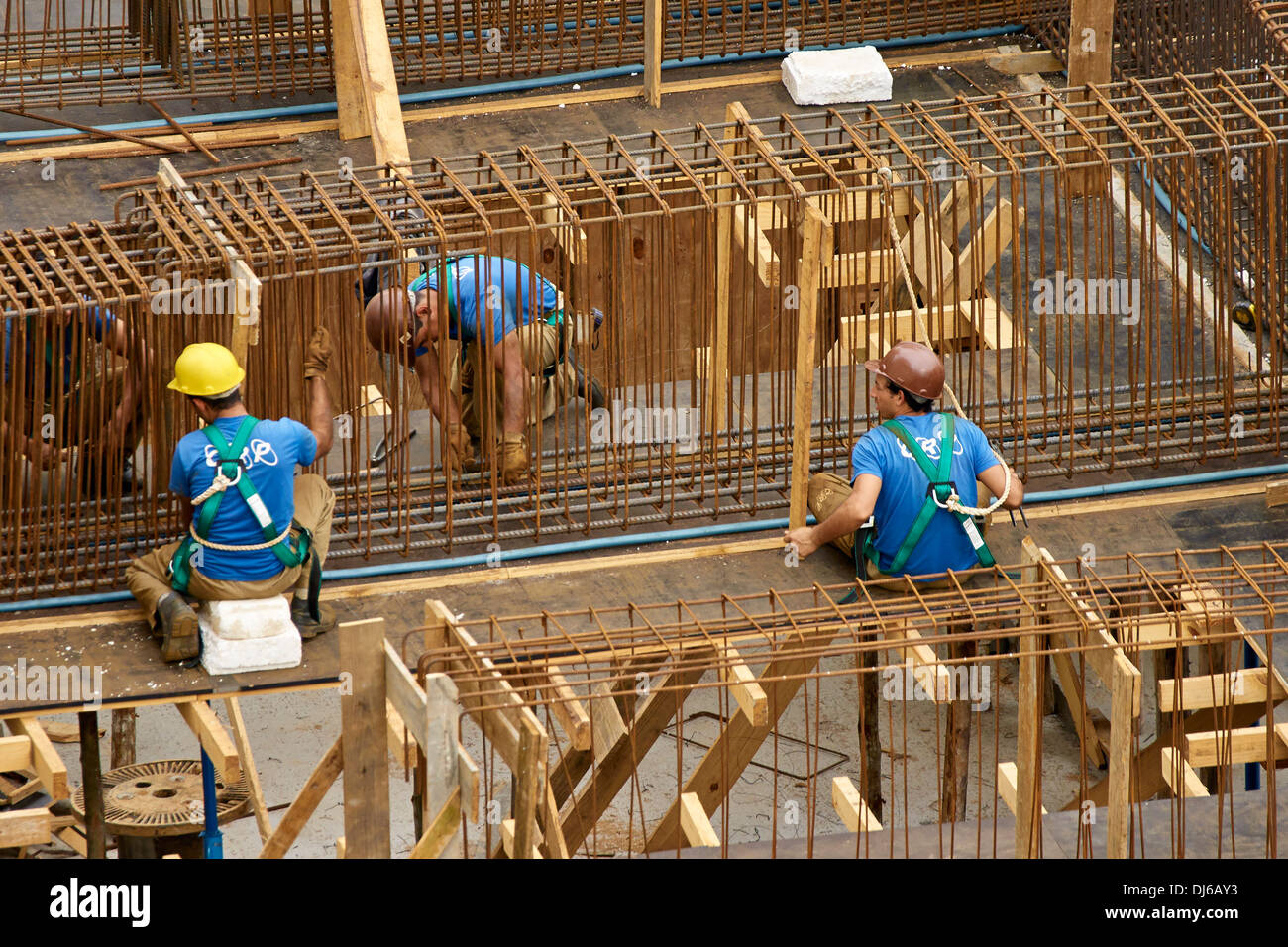 Installation of the reinforcement steel - Stock Image