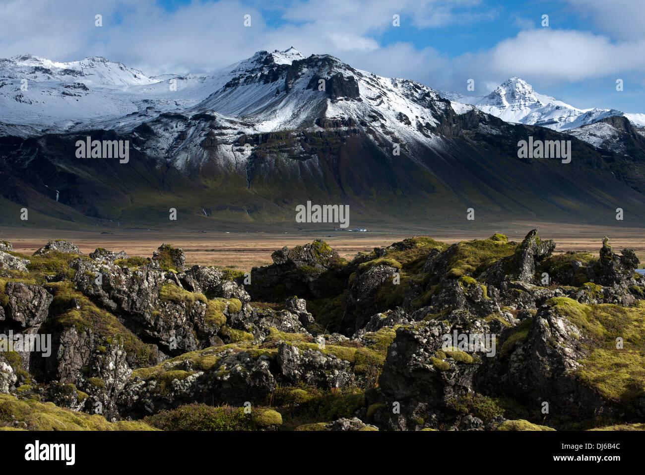 Alpine mountains, winter, east of Budir, Snaefellsnes Peninsula, Iceland, Europe - Stock Image