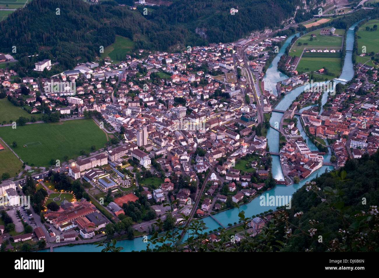 Europe. Switzerland, Canton Bern. Bernese Oberland, Interlaken. Aare, connection between the lakes Brienzersee and Thunersee. - Stock Image