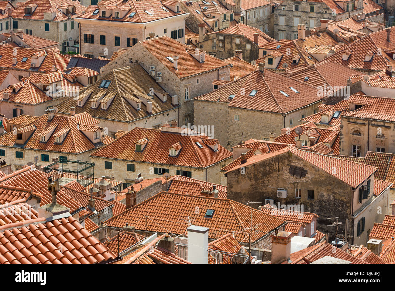 Closeup view of Dubrovnik rooftops with characteristic orange tiles. Stock Photo