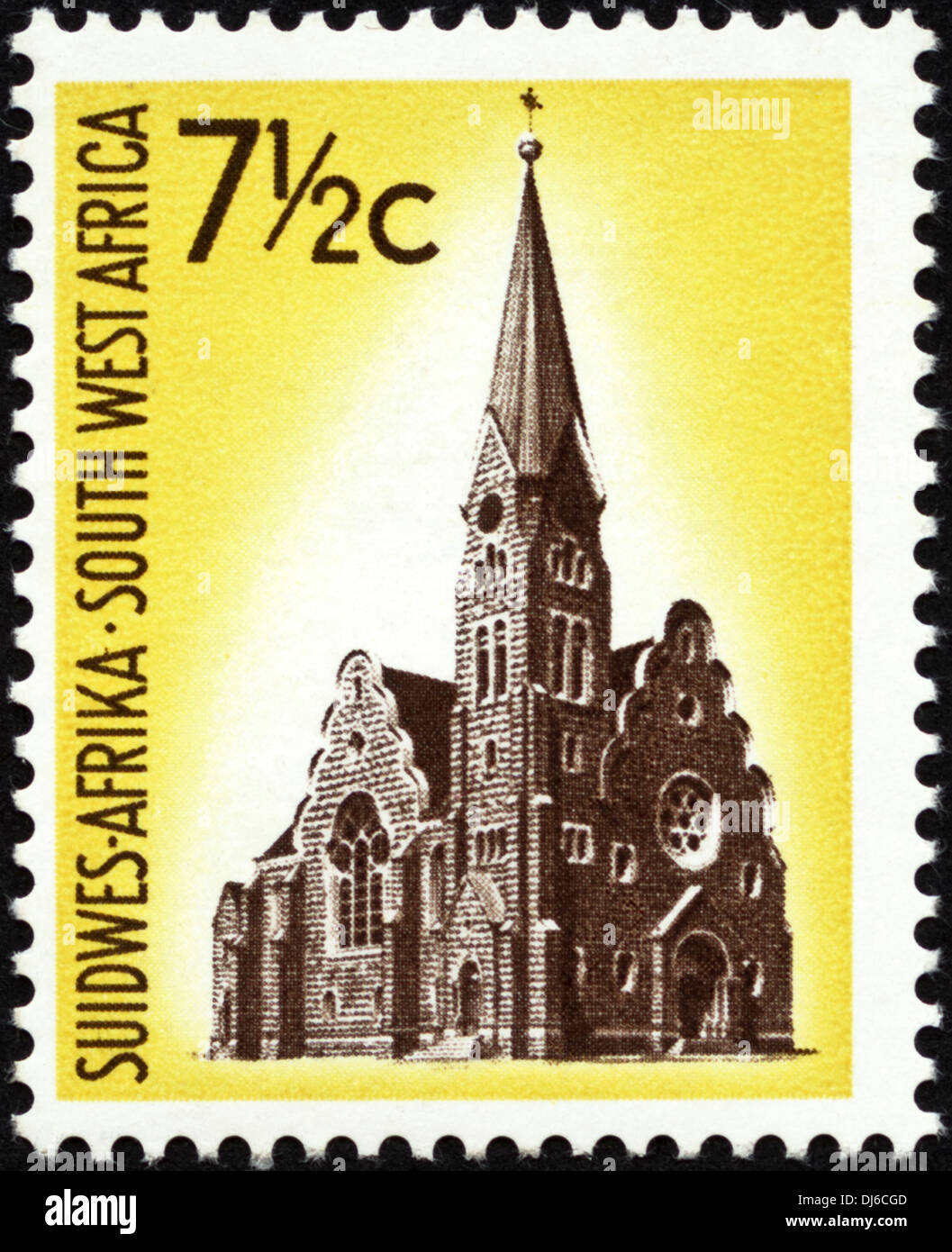 postage stamp South West Africa 7½c featuring church with spire dated 1961 - Stock Image