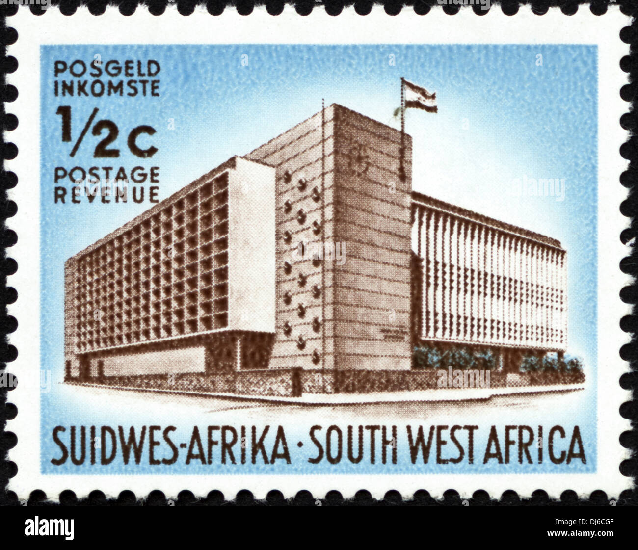 postage stamp South West Africa ½c featuring public building dated 1961 - Stock Image