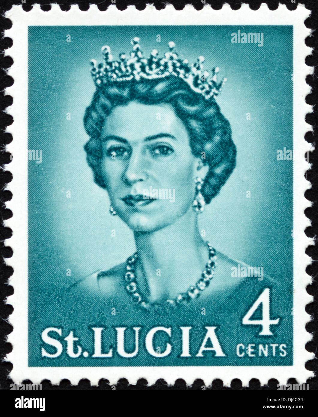 postage stamp St. Lucia 4cents featuring Queen Elizabeth II dated 1964 - Stock Image