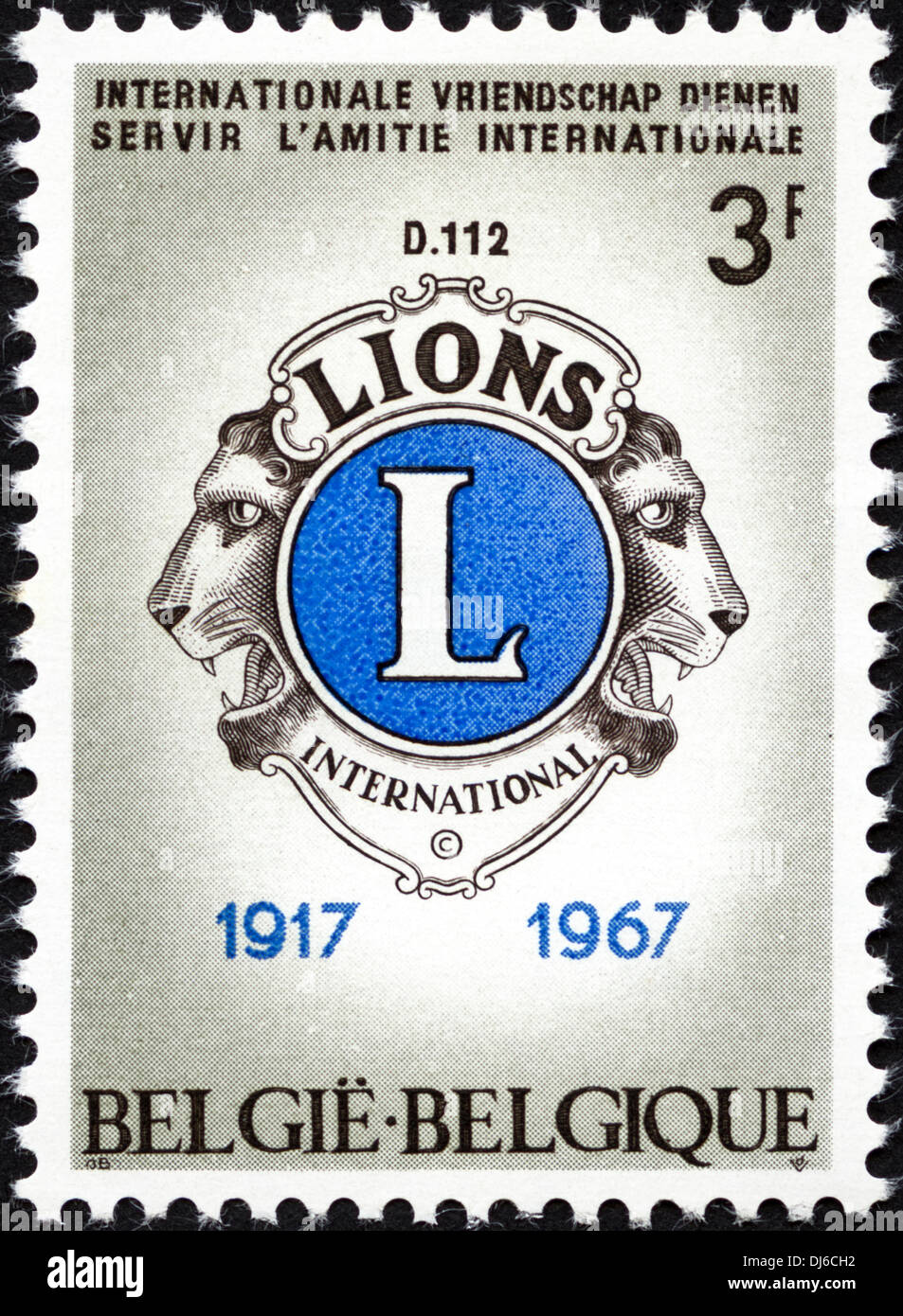 postage stamp Belgium 3F featuring Lions International 1917 - 1967 issued 1967 - Stock Image