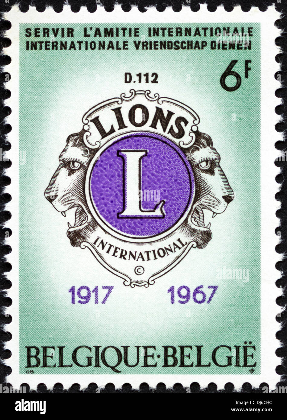 postage stamp Belgium 6F featuring Lions International 1917 - 1967 issued 1967 - Stock Image
