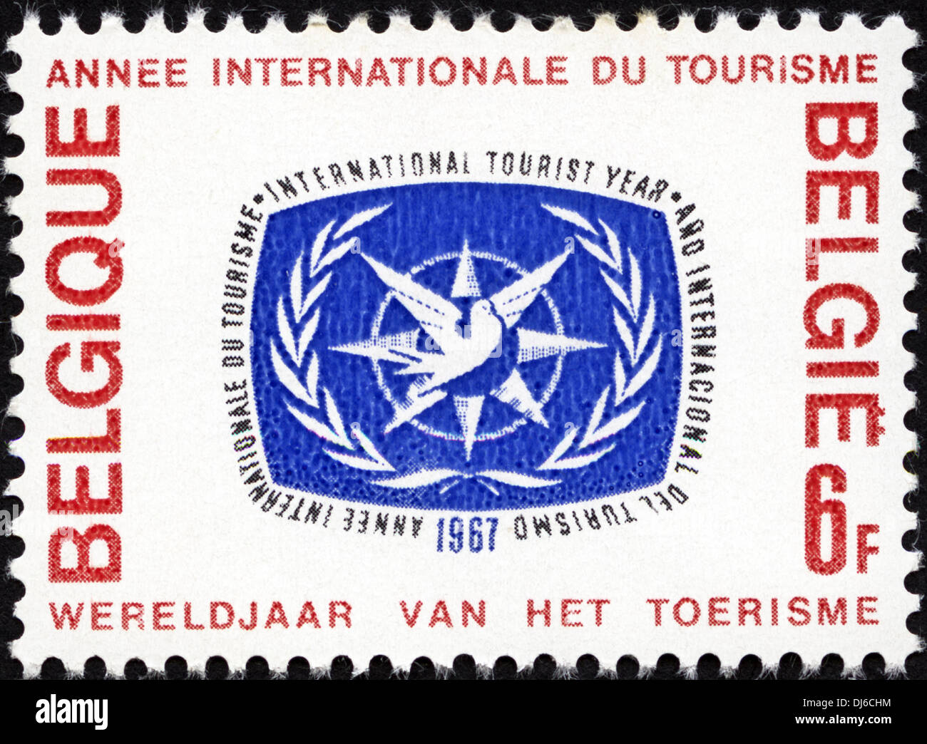 postage stamp Belgium 6F featuring International Tourist Year 1967 dated 1967 - Stock Image
