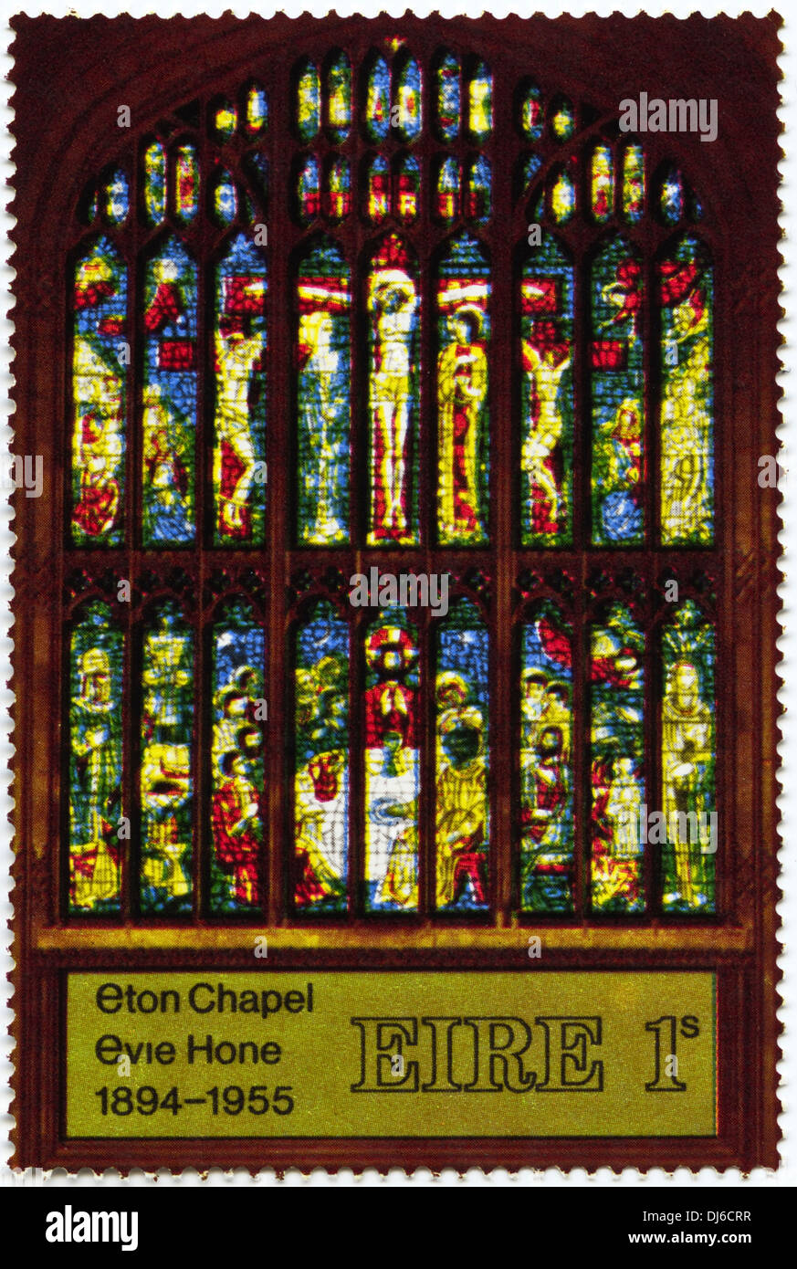 postage stamp Eire 1s featuring Eton Chapel stained glass window 1894 - 1955 dated 1969 - Stock Image