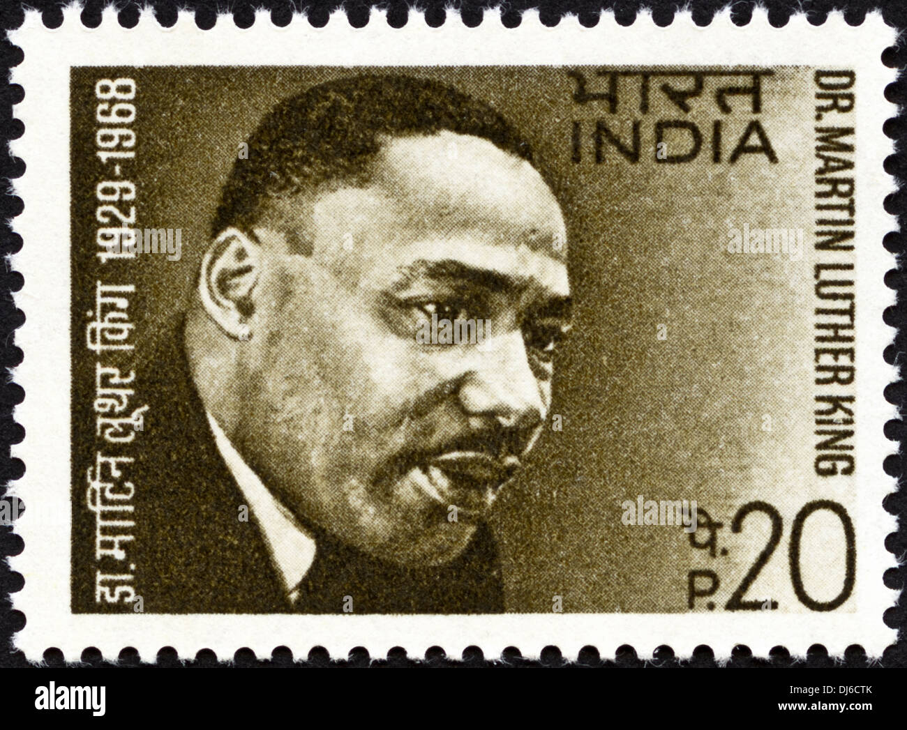 postage stamp India featuring Dr Martin Luther King 1929 - 1968 dated 1969 - Stock Image
