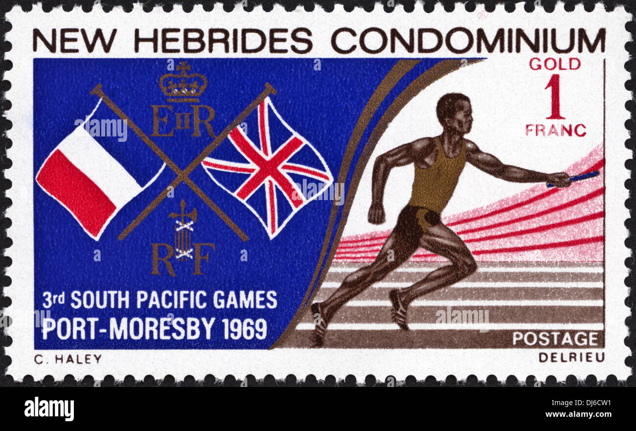 postage stamp New Hebrides Condominium 1F featuring 3rd South Pacific Games Port Moresby 1969 dated 1969 - Stock Image