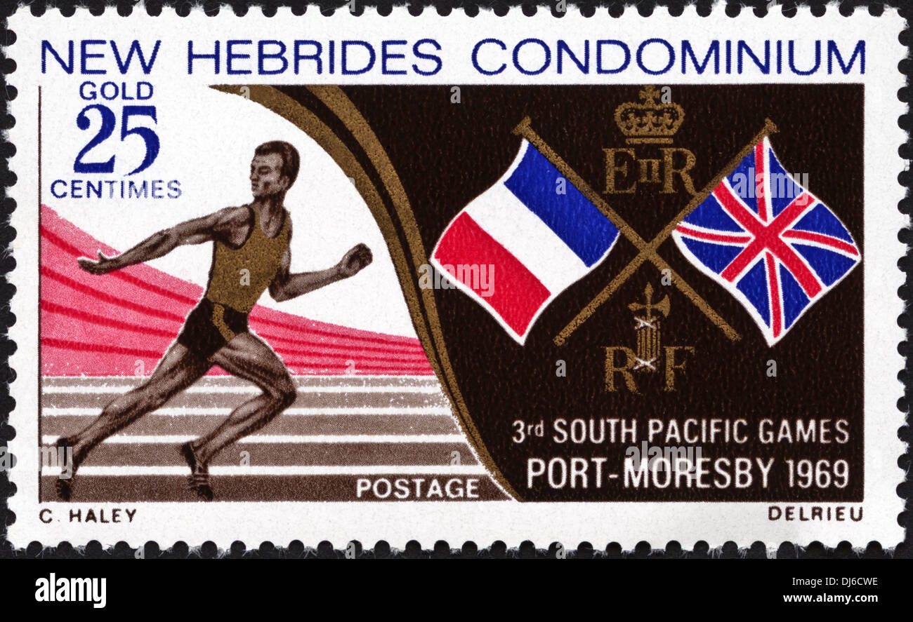postage stamp New Hebrides Condominium 25c featuring 3rd South Pacific Games Port Moresby 1969 dated 1969 Stock Photo