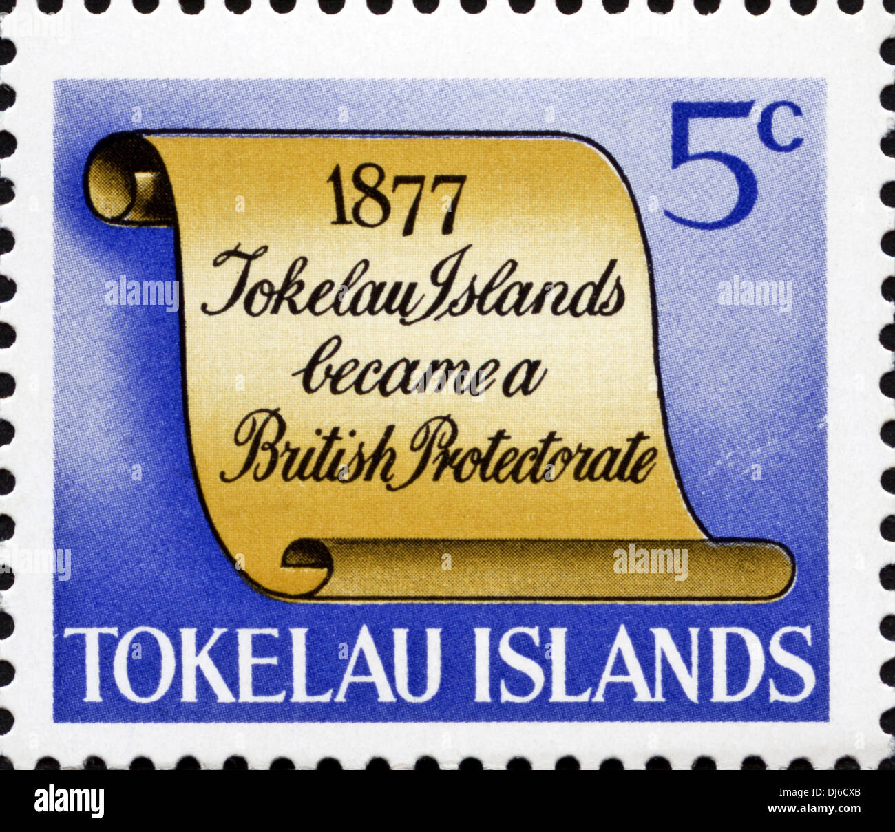 postage stamp Tokelau Islands 5c featuring 1877 significant date in island history dated 1969 - Stock Image