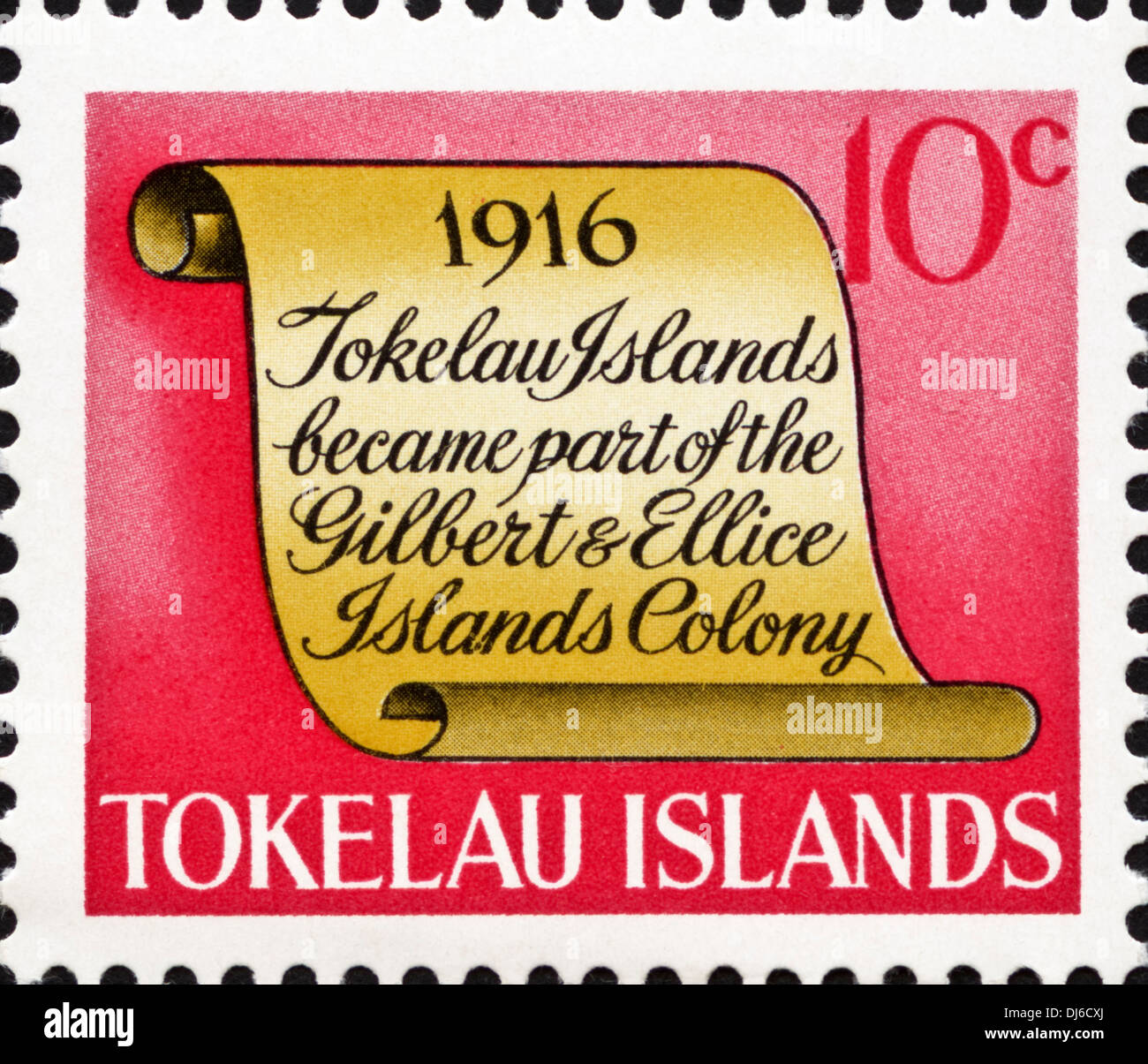 postage stamp Tokelau Islands 10c featuring 1916 significant date in island history dated 1969 - Stock Image
