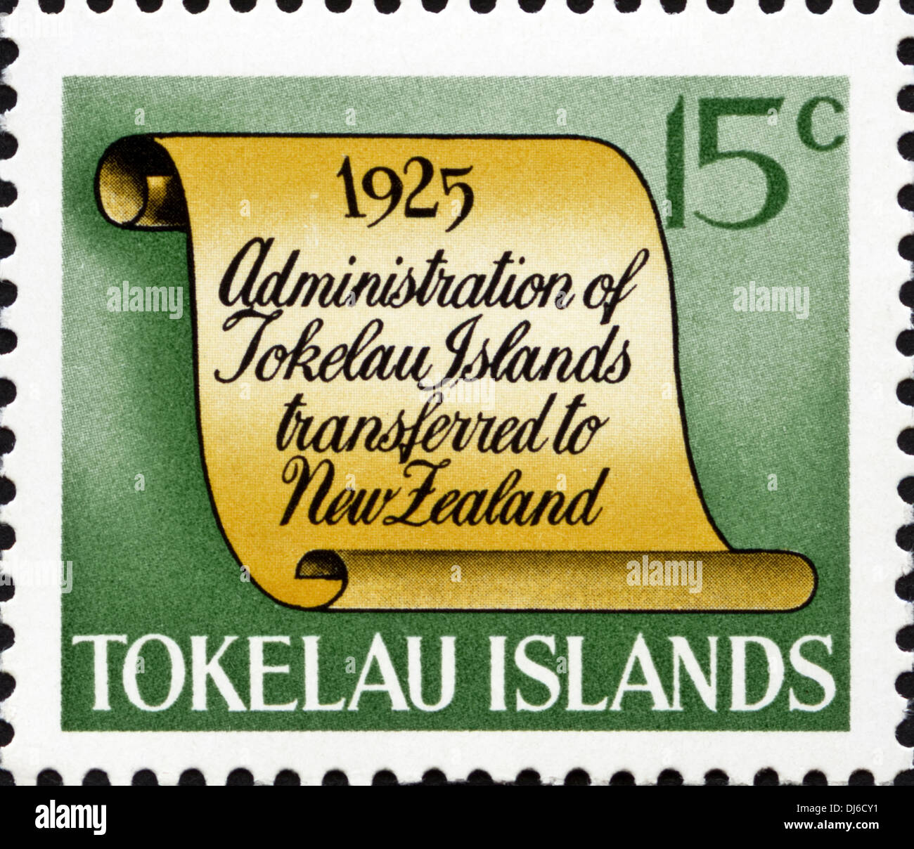 postage stamp Tokelau Islands 15c featuring 1925 significant date in island history dated 1969 - Stock Image