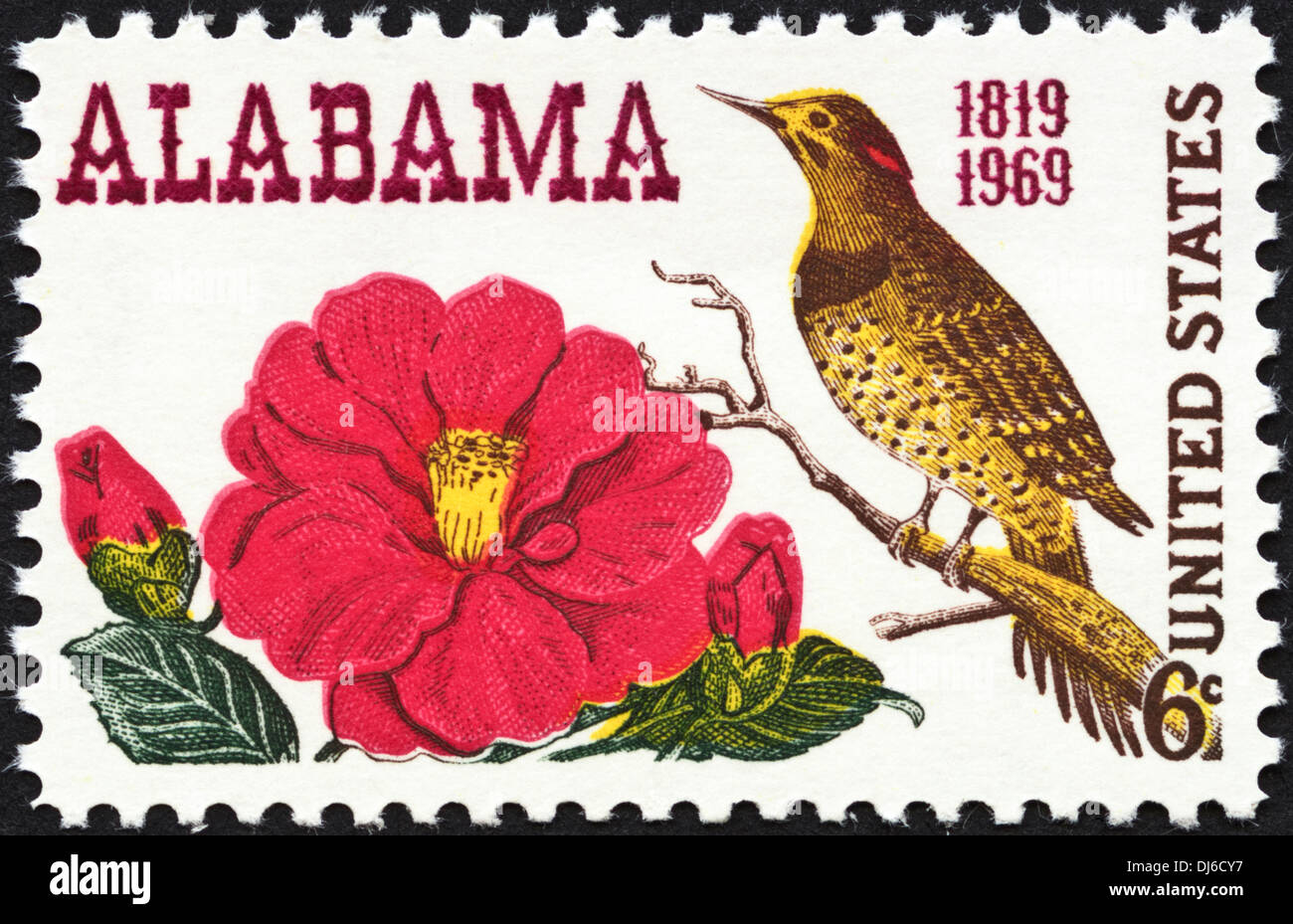 postage stamp United States 6c featuring Alabama 1819 - 1969 dated 1969 - Stock Image