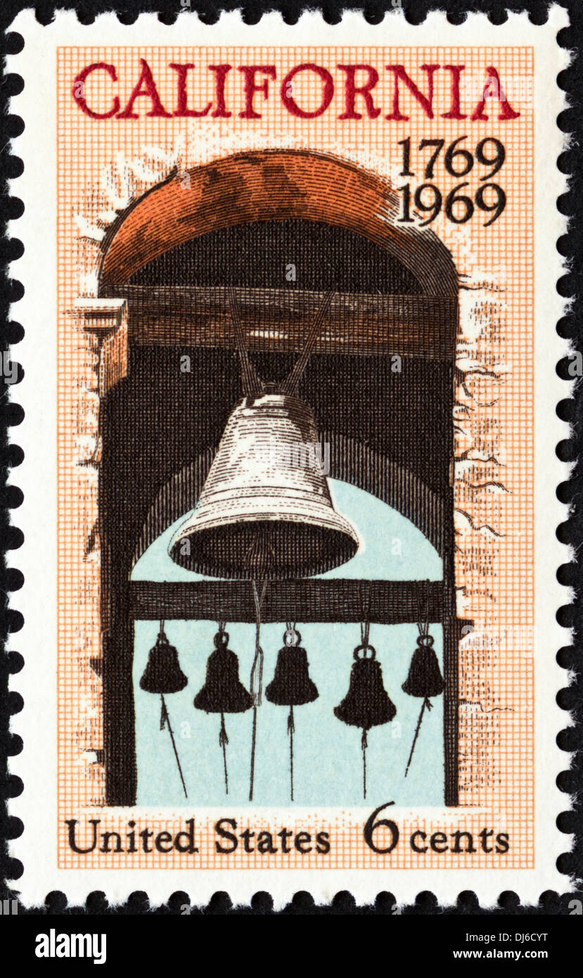 postage stamp United States 6c featuring California 1769 - 1969 dated 1969 - Stock Image