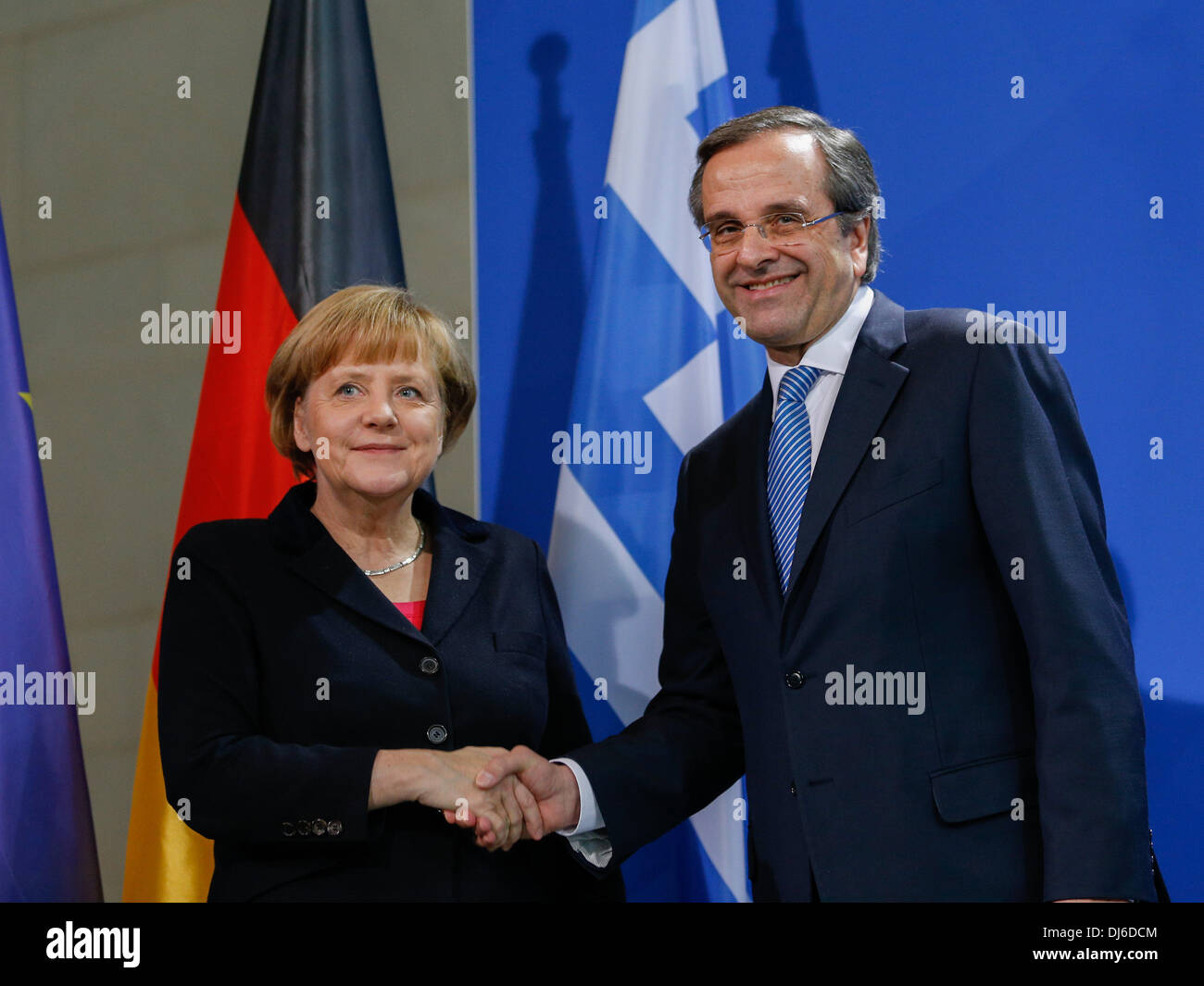 Berlin, Germany. 22nd Nov, 2013. Angela Merkel, German Chancellor, receives Andonis Samaras, Greek prime minister, at the Chancellery in Berlin. / Picture: Angela Merkel, German Chancellor, and Andonis Samaras, Greek prime minister, during joint press conference at the Chancellery in Berlin, on November 22, 2013.Photo: Reynaldo Paganelli/NurPhoto Credit:  Reynaldo Paganelli/NurPhoto/ZUMAPRESS.com/Alamy Live News - Stock Image
