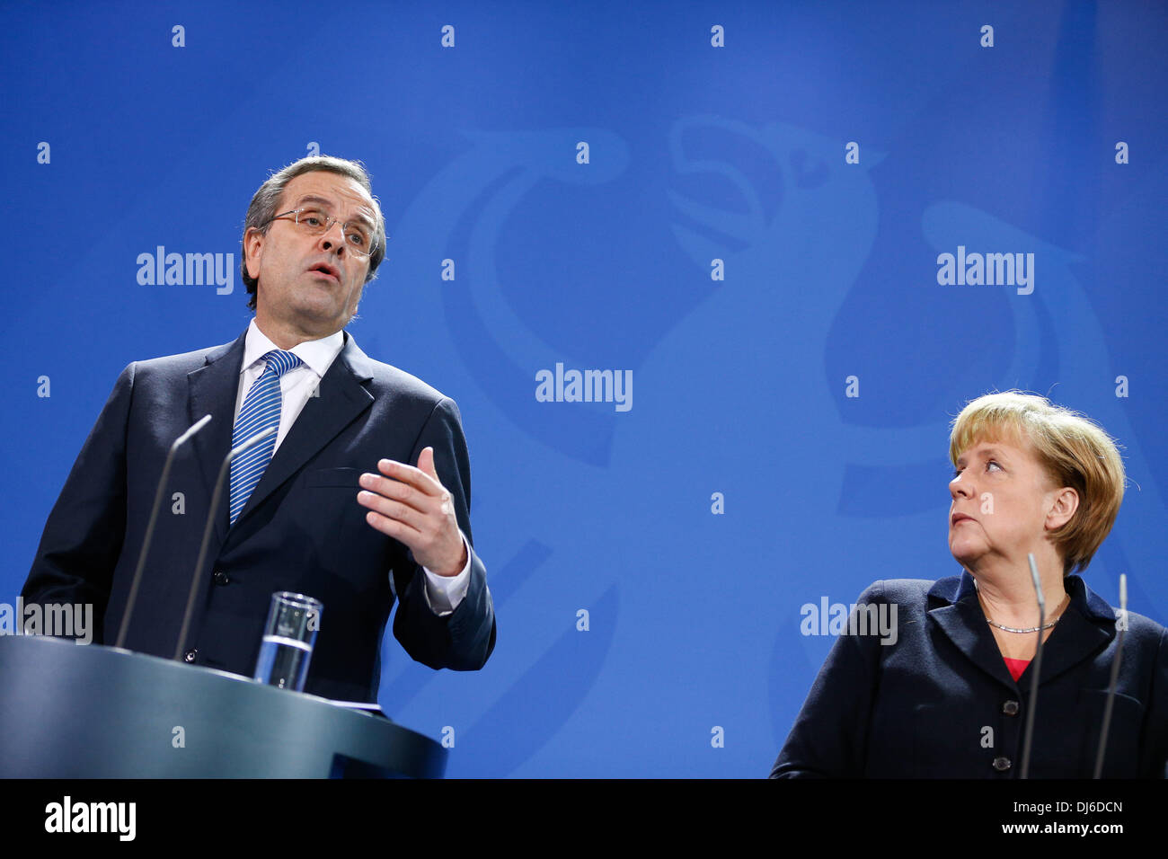 Berlin, Germany. 22nd Nov, 2013. Angela Merkel, German Chancellor, receives Andonis Samaras, Greek prime minister, at the Chancellery in Berlin. / Picture: Angela Merkel, German Chancellor, and Andonis Samaras, Greek prime minister, during joint press conference at the Chancellery in Berlin., on November 22, 2013.Photo: Reynaldo Paganelli/NurPhoto Credit:  Reynaldo Paganelli/NurPhoto/ZUMAPRESS.com/Alamy Live News - Stock Image