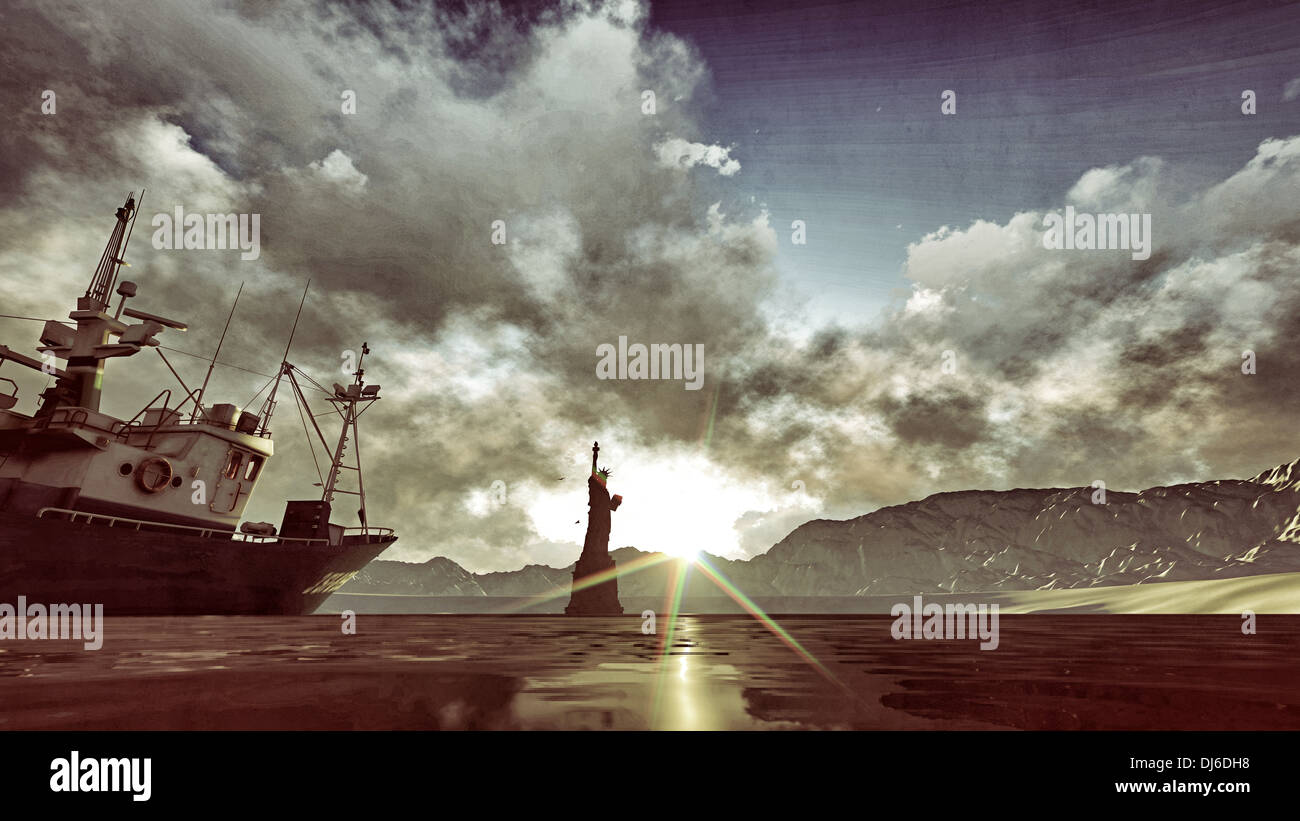 liberty statue in post apocalyptic scene - Stock Image