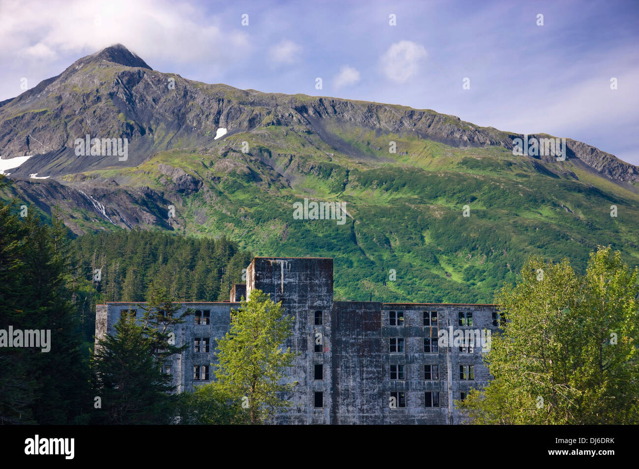 The Buckner Building A Remnant Of World War Ii Construction Sits Abandonded In Whittier, Southcentral Alaska - Stock Image