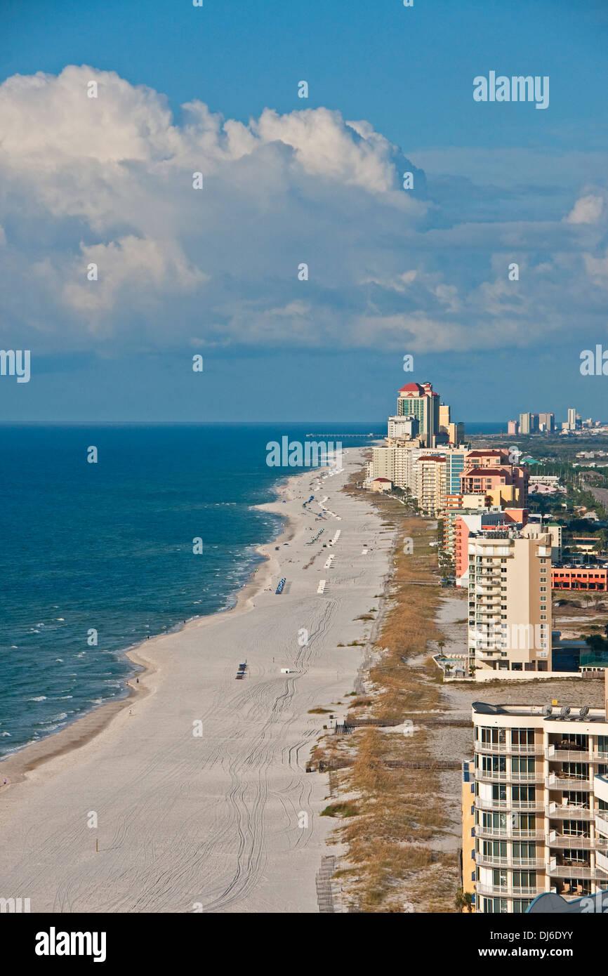 Alabama Gulf Coast's Orange Beach white sand and condos. - Stock Image
