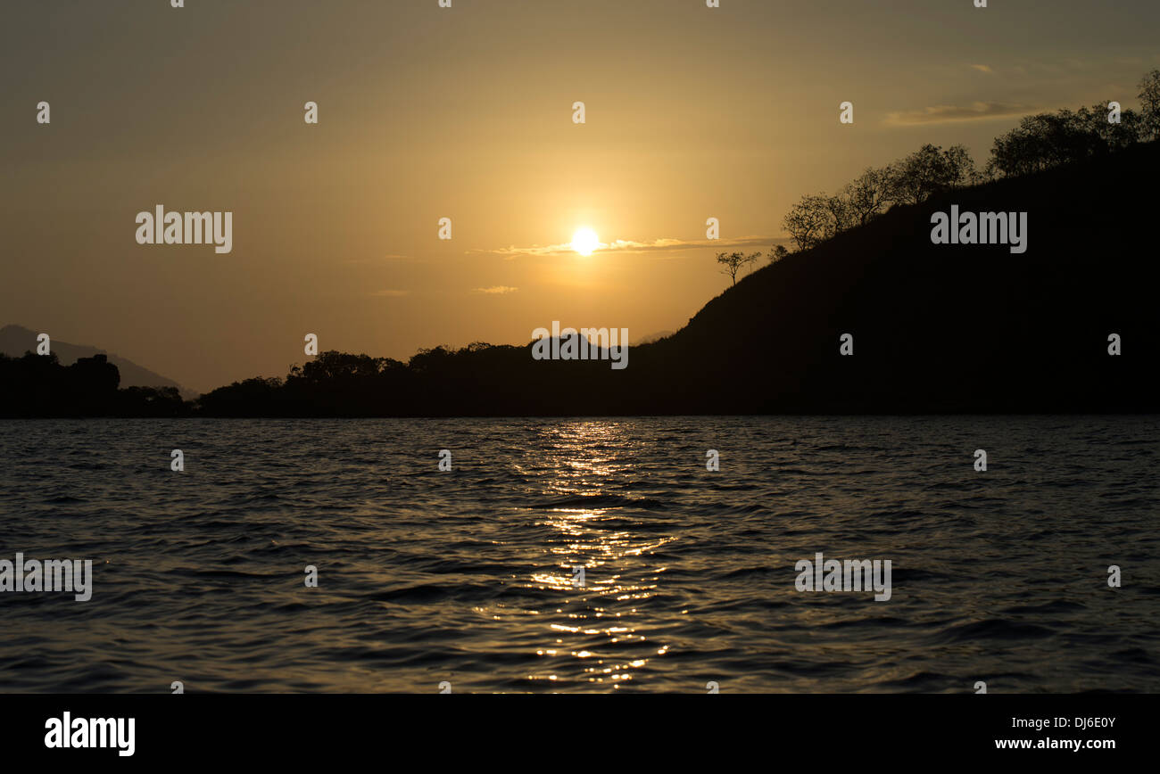 Sunset over the ocean Port Moresby, Papua New Guinea - Stock Image