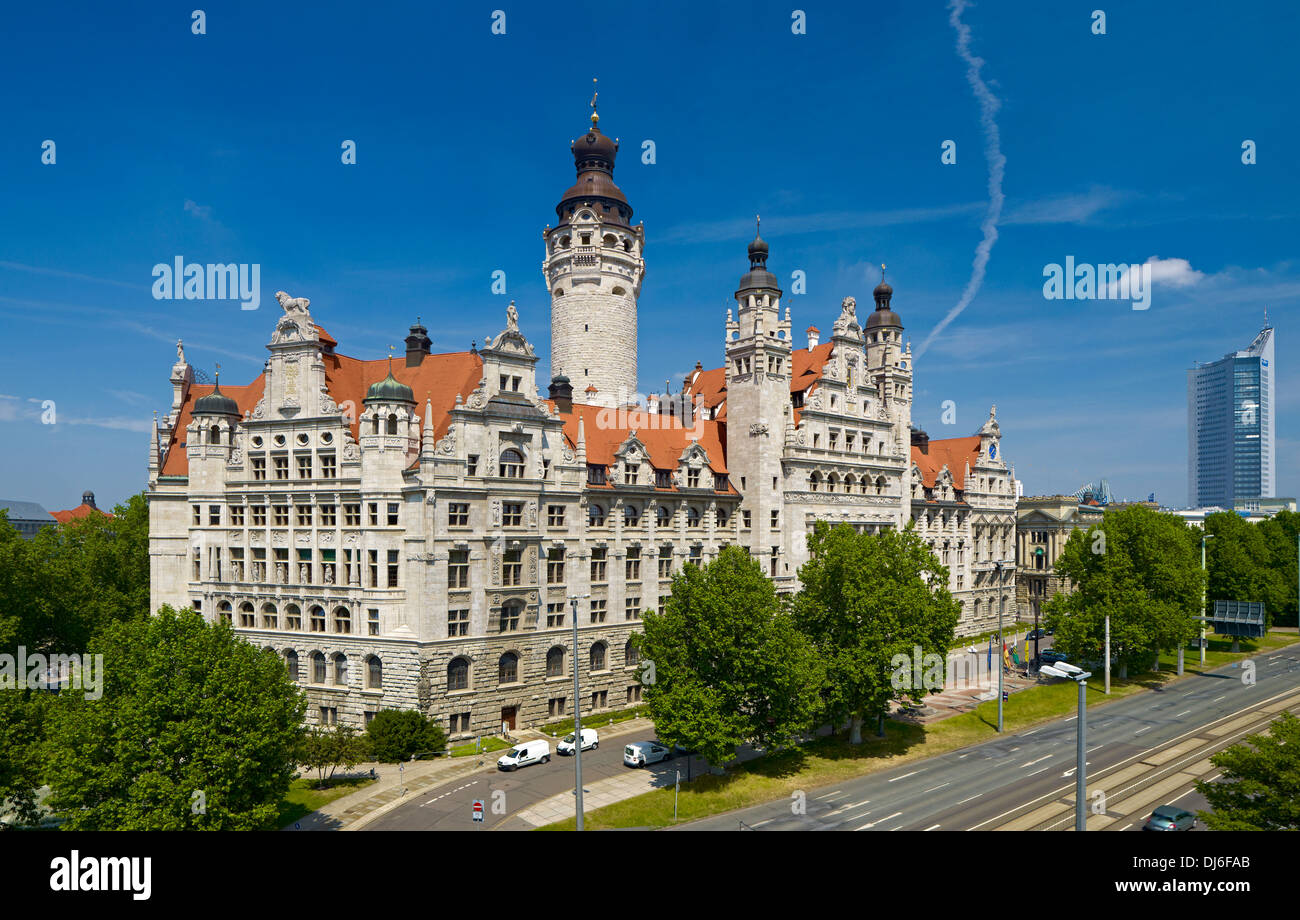 New Town Hall and City Hochhaus skyscraper in Leipzig, Saxony, Germany - Stock Image