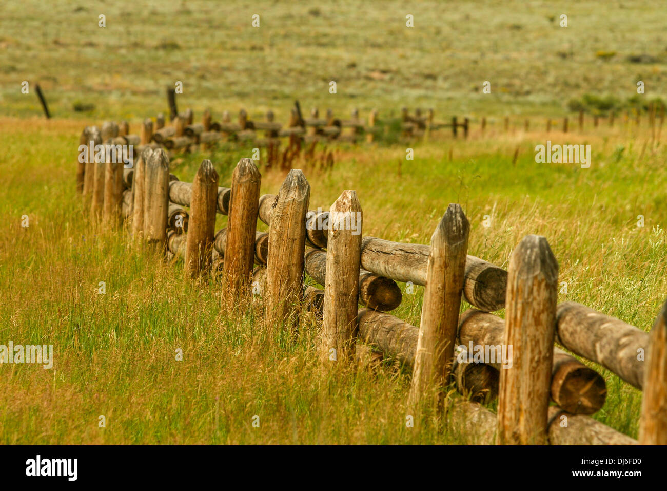 Hand Made Fence in the West - Stock Image