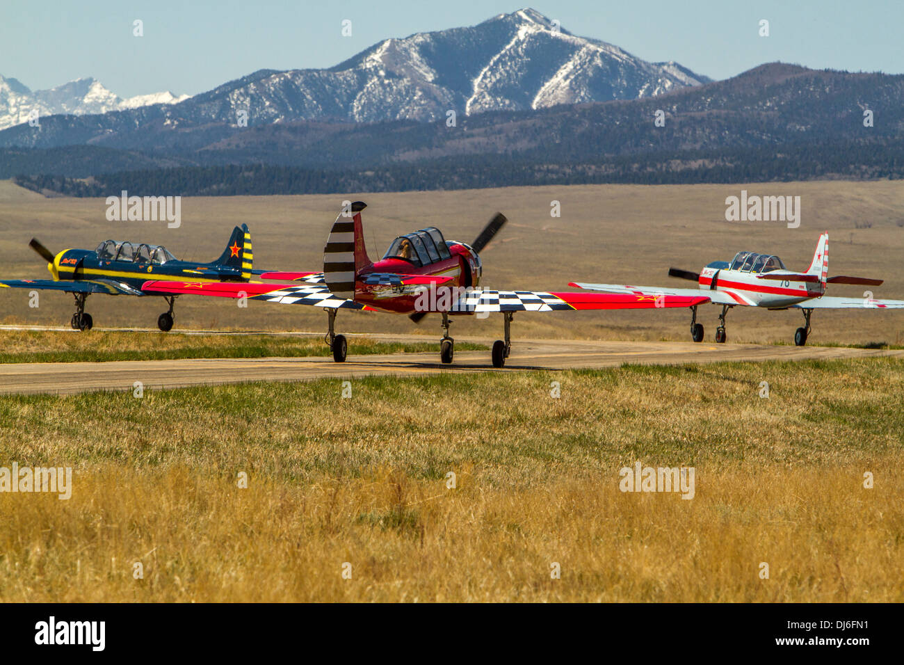 Unique Airplanes in the Mountains. - Stock Image
