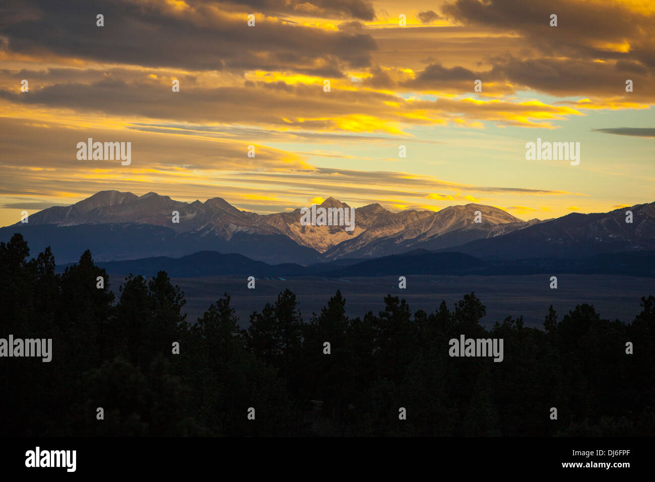 Mountain Sunset in Colorado - Stock Image
