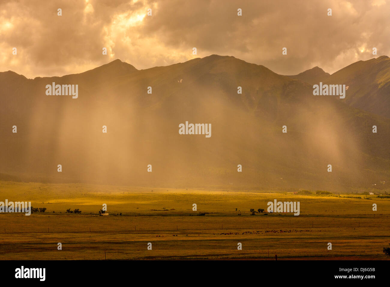 Rain Storm in the Wet Mountain Valley - Stock Image