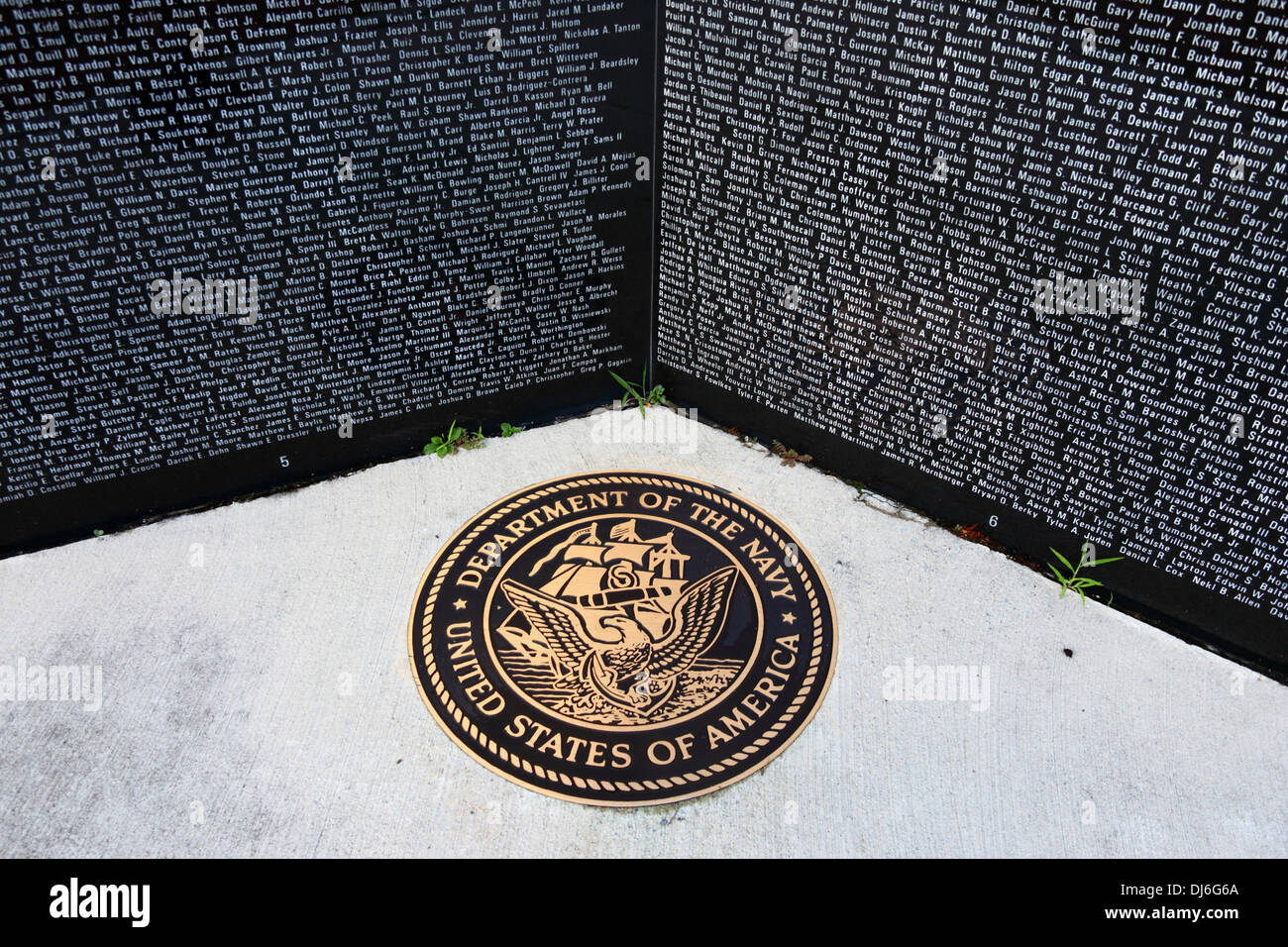 Names of members of US Navy who have died in Iraq and Afghanistan on Gulf War memorial, Cumberland , Maryland , Stock Photo