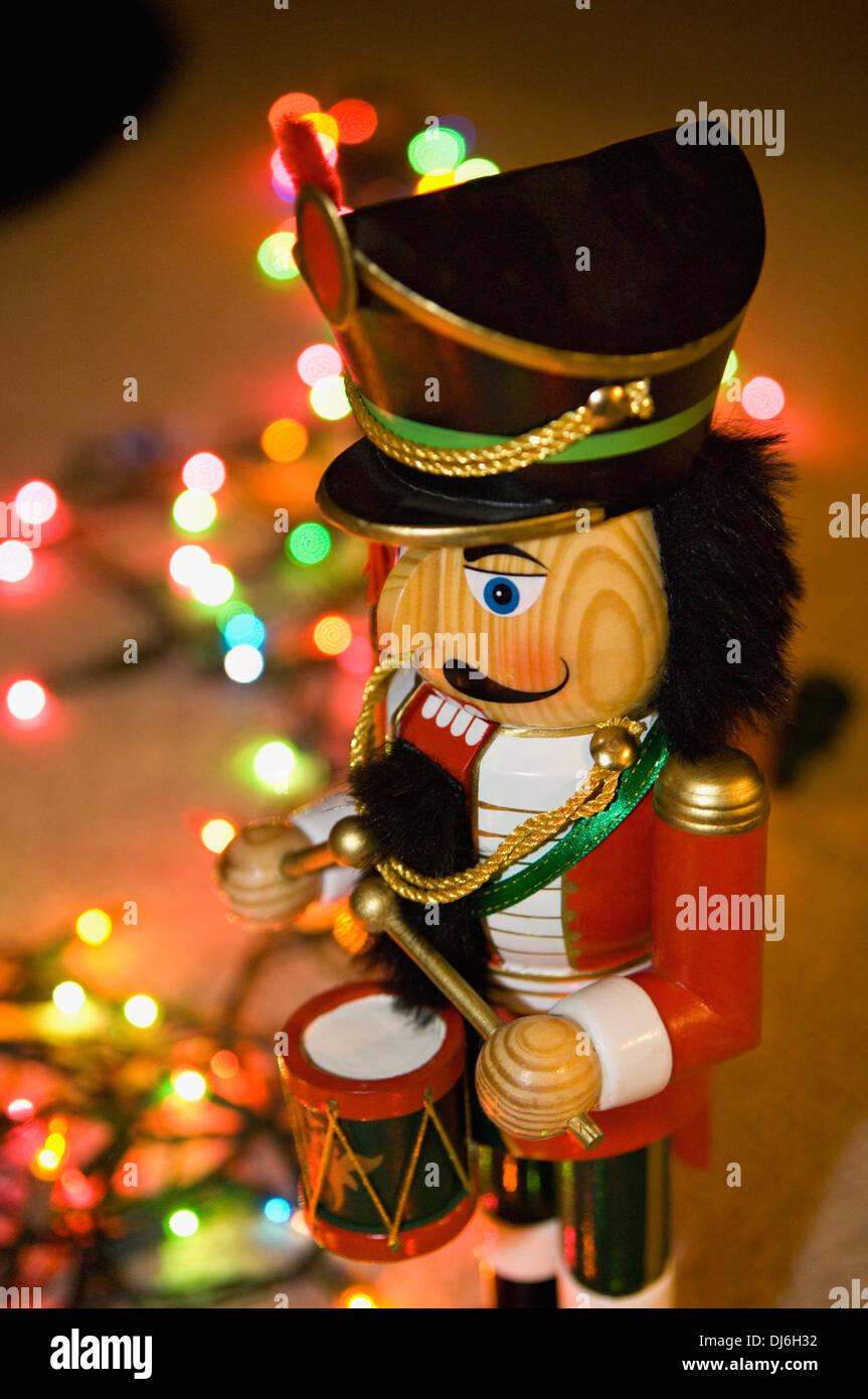 Nutcracker and Christmas Lights - Stock Image