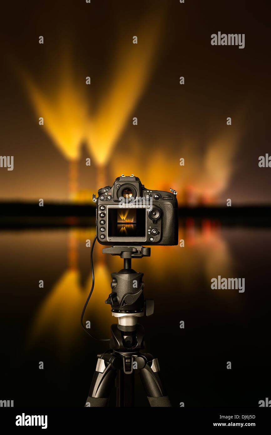 Digital camera the night view. Beautiful colors. - Stock Image