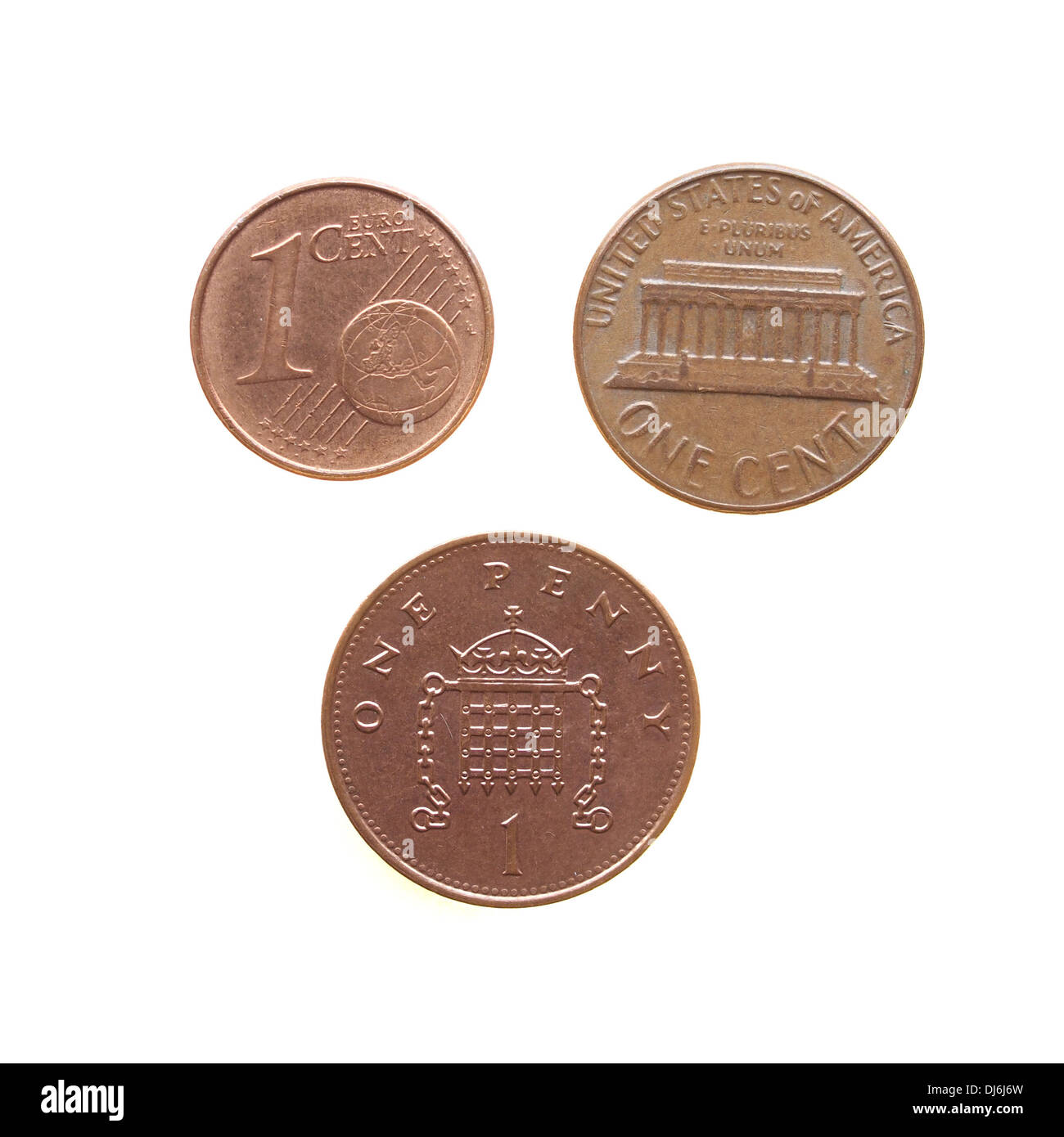 One Euro cent One Dollar cent One Penny coins Stock Photo