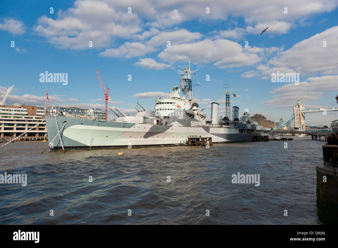 HMS Belfast moored on the River Thames, London, Imperial War Museum - Stock Image