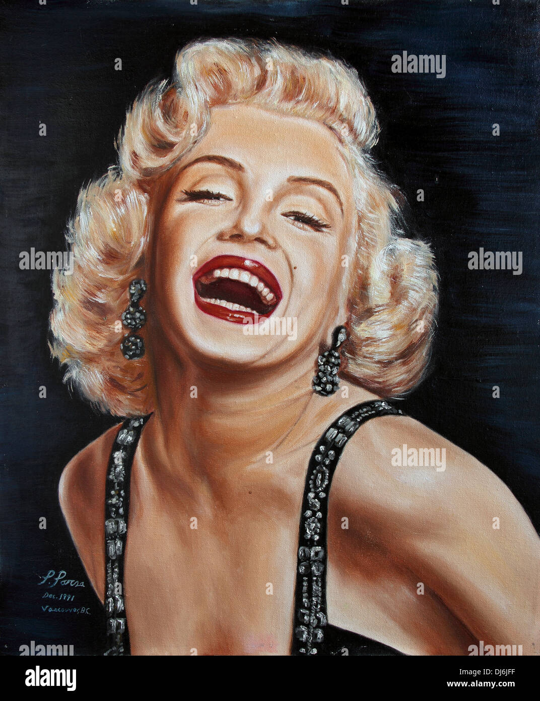 Marilyn Monroe oil color portrait - Stock Image