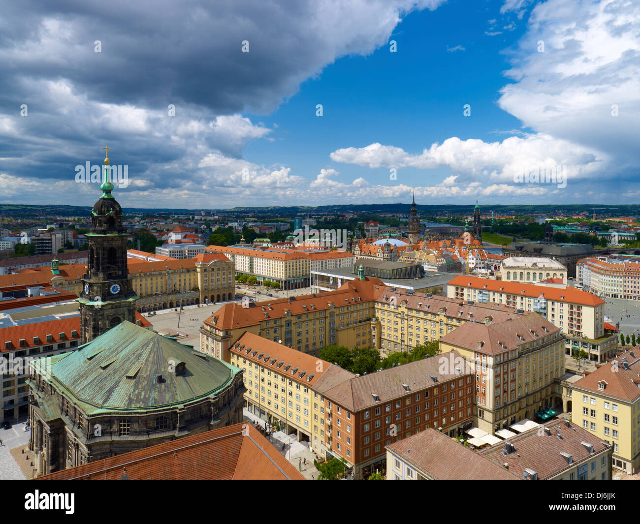 View of Dresden with Church of the Holy Cross and Altmarkt Square, Saxony, Germany - Stock Image