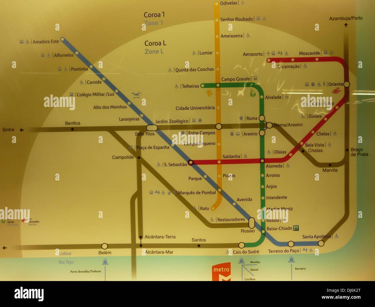 Lisbon Metro map - Stock Image